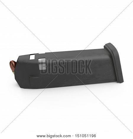 Pistol magazine for 9mm bullets isolated on white background. 3D illustration