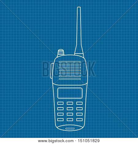 Radio transceiver. Vector illustration on blueprint background