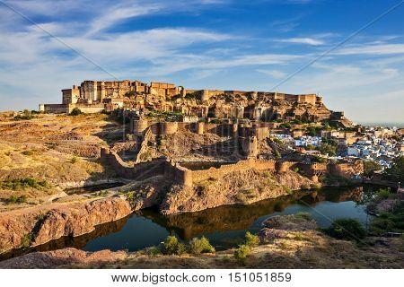 Mehrangarh Fort and Padamsar Talab and Ranisar Talab lakes , Jodhpur, Rajasthan, India