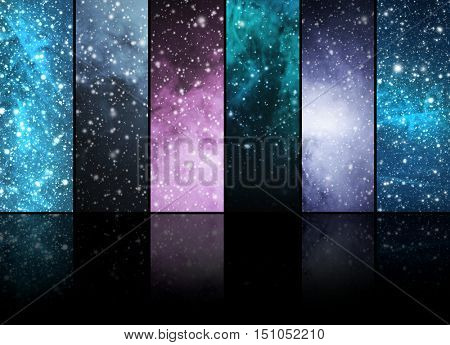 Universe, stars, constellations and planets. Space backgrounds abstract collection.