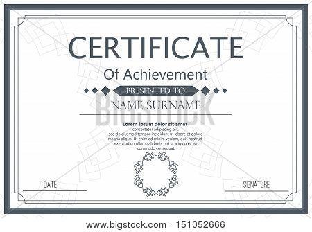 Vector certificate template. Vector award graduation certificate achievement success template border. Business paper coupon document certificate ornament elegant frame decoration.