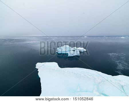 beautiful icebergs are on the arctic ocean