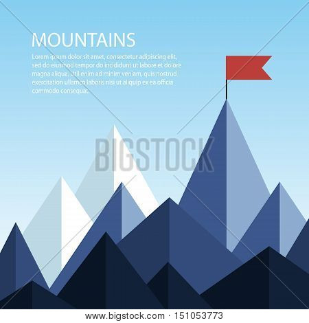 Polygonal mountains with a flag on the top. Business concept of success. Vector illustration with space for text. Goal achievement.