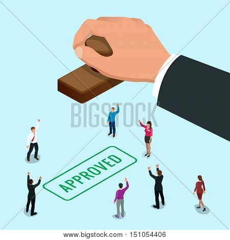 Isometirc concept Hand of business man stamping approved word on a paper. Approved stamp flat vector isometric illustration.