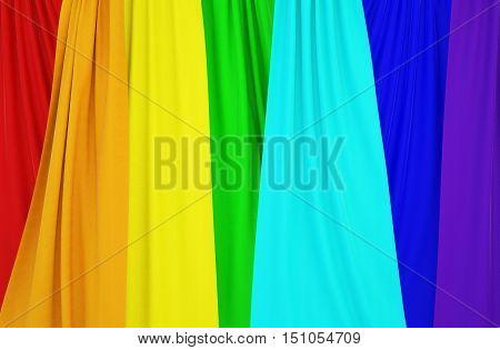 Pictures of curtains with colors of the rainbow. Can be used as texture or background. 3d illustration