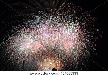 Fireworks over Lake Michigan Chicago Illinois USA