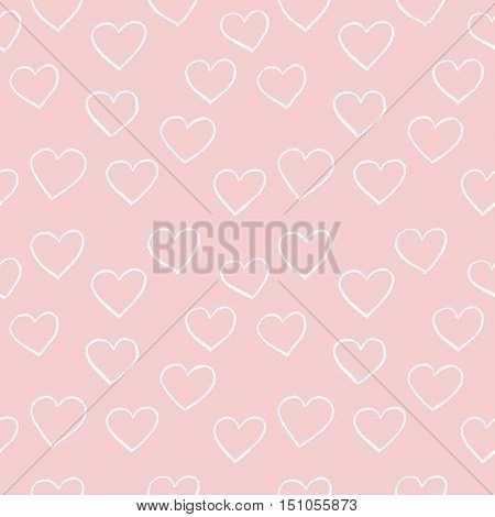 Heart. Background vector. Seamless pattern. Hand drawn hearts. For gift paper, web background, wrap paper, textile, natural cotton, baby shower...