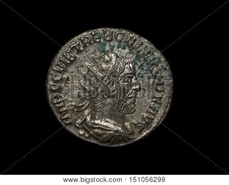 Ancient Roman Silver Coin Of Trebonianus Emperor Isolated On Black