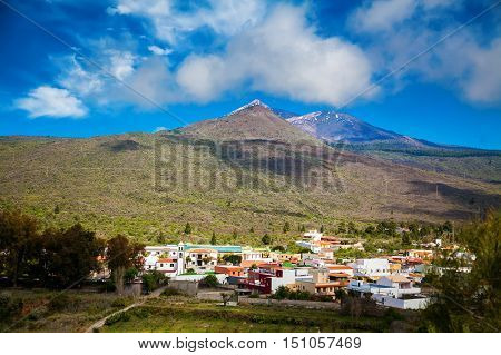 Santiago del Teide town with the volcano on the background Tenerife Canary Islands Spain
