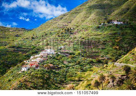 small Masca village on the hillside Tenerife Canary Islands Spain