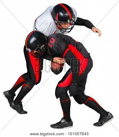 American Football Ball Carrier Being Tackled - Isolated