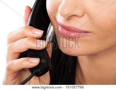 Close-up of a Woman Talking on the Phone