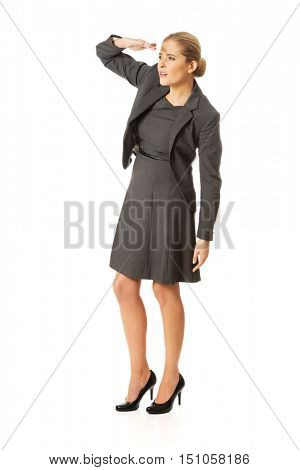 Businesswoman see something interesting