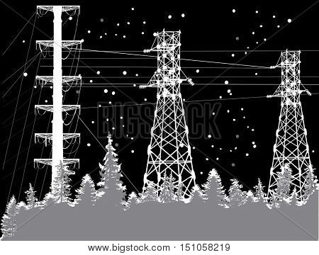 illustration with electric power pylon under snowfall