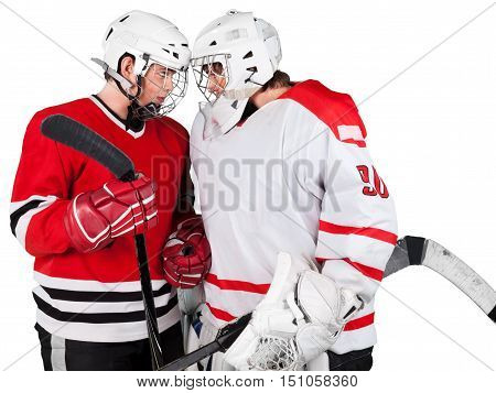 Two Hockey Players Facing off trying to intimidate each other