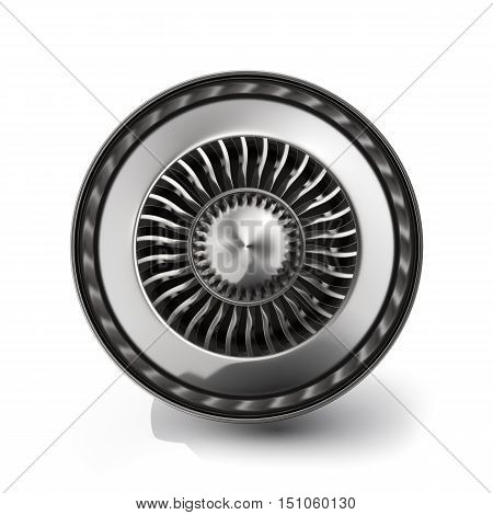 Jet engine back view isolated on white background. 3d rendering.