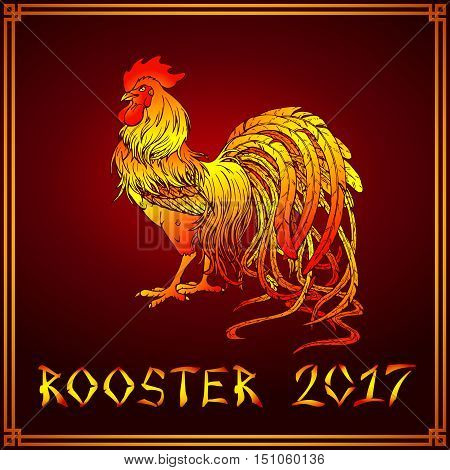 Vector illustration. A handsome fiery red rooster on a dark red background. A symbol of the Chinese new year 2017 according to east calendar. Festive greeting card.