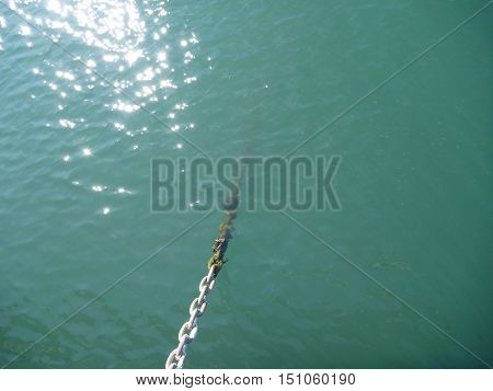 Strong Rusty Chain In A Port