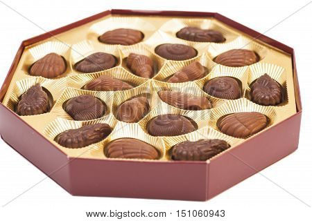 Box of Chocolate Candy isolated on white