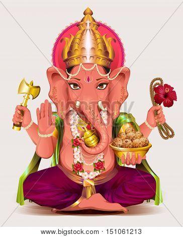 Ganesha Indian god of wisdom and wealth. Isolated on white vector illustration