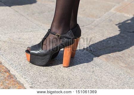 MILAN ITALY - SEPTEMBER 25 2016: Detail of shoes outside Stella Jean fashion show building during Milan Women Fashion Week SS17.