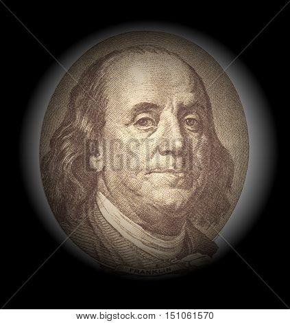 Portrait of Benjamin Franklinon on black background