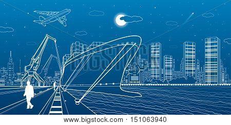 Cargo ship loading, boat on the water, sea harbor, airplane fly, transportation illustration, people walk along the promenade, vector design art