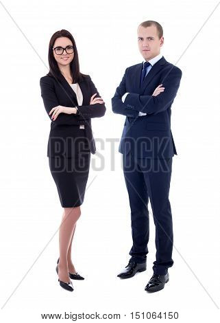 Full Length Portrait Of Young Business Man And Business Woman In Business Suits Isolated On White