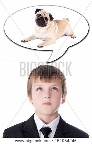 idea concept - little boy in business suit thinking about dog isolated on white background