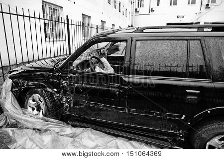 Car After Accident. Side Of A Vehicle After A Car Crash