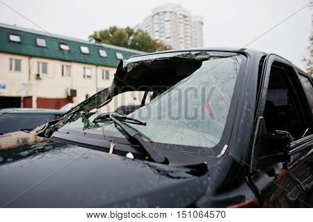 Car after accident. Car windscreen crashed much