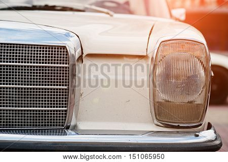Retro Car Headlight. Front Of Old Vintage Car
