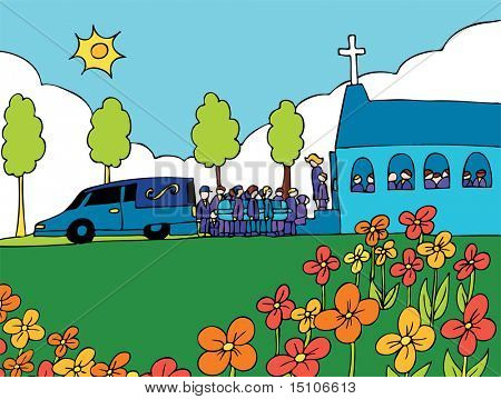 Funeral : Cartoon of people carrying a casket out of a hearse and into a crowded church.