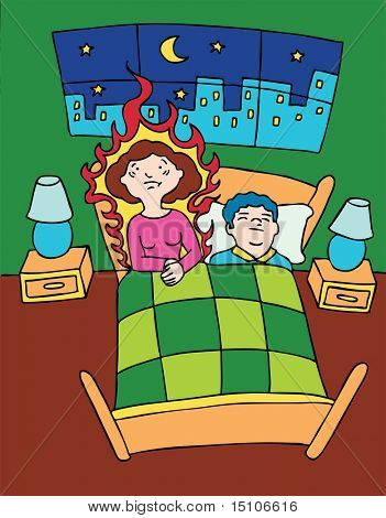 Hot Flash : Menopausal woman wakes up in bed having a hot flash while her husband sleeps.