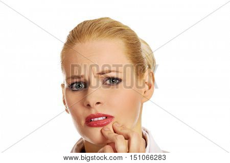 Young business woman suffering from tooth ache