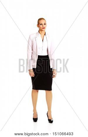 Young sad and worried business woman