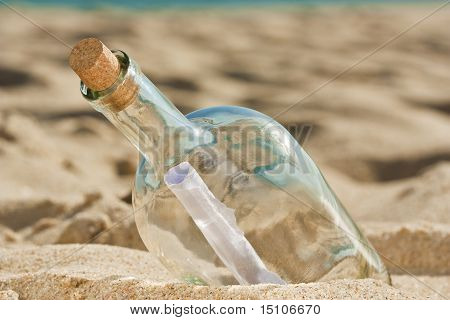 Found A Bottle With A Message Near The Shore