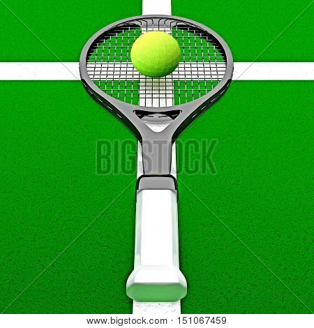 Tennis - my life. The tennis racket and tennis ball are located on the tennis court. 3D illustration