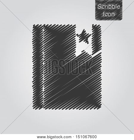 Vector Icon Of Notepad With Bookmark In Scribble Style