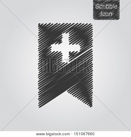 Vector Icon Of Bookmark With Cross In Scribble Style