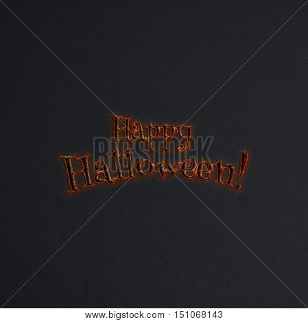 Happy Halloween lettering greeting card. Halloween banner with place for your text or pictures. 3D illustration. Metal volumetric letters from hot iron with red light. Modern style. Design template.