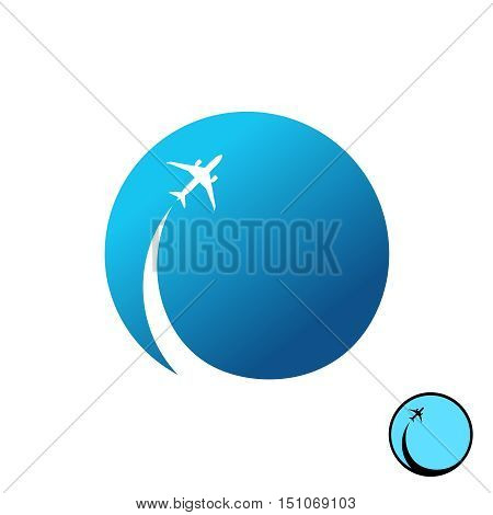 Airplane with sky round logo. Jet plane with inversion trail with blue sky round background illustration.