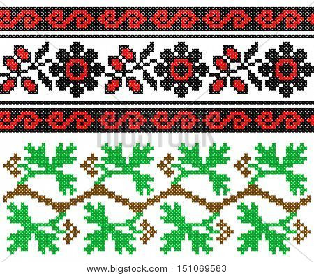 two embroidered old handmade cross-stitch ethnic Ukrainian patterns. Towel with ornament, called rushnyk in vector