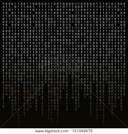 Binary code on a black background. binary algorithm, encryption, encoding matrix