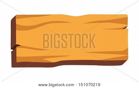 Wooden board with empty space for your text. Wood vector plank icon. Signboard illustration Isolated on white background