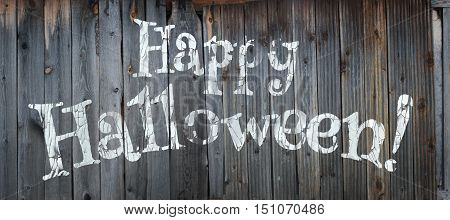 Happy Halloween banner. Greeting lettering on the old fence. Cracked paint and old fence texture. Realistic 3d illustration. Design template. Modern style.