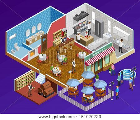 Restaurant interior isometric concept with facilities and service symbols on dark blue background  vector illustration