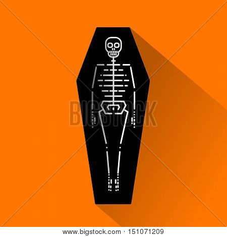 Vector Halloween funny icon. Skeleton in open coffin. Line icon skeleton with flat shadows. Flat design for holidays.