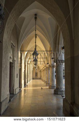 Gothic arcades in Cloth Hall in Krakow Poland