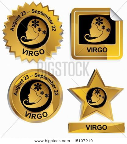 Virgo Zodiac Set : Gold satin buttons with name and date.